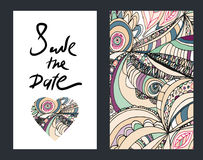 Εκλεκτής ποιότητας πρόσκληση doodle Εκτός από το σχέδιο ημερομηνίας συρμένο διάνυσμα χεριών Στοκ Φωτογραφίες