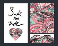 Εκλεκτής ποιότητας πρόσκληση doodle Εκτός από το σχέδιο ημερομηνίας συρμένο χέρι Στοκ Φωτογραφία