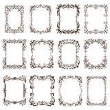 Εκλεκτής ποιότητας πλαίσια και γωνίες με τις διακοσμήσεις Στοκ εικόνα με δικαίωμα ελεύθερης χρήσης