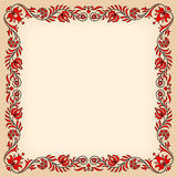 Εκλεκτής ποιότητας πλαίσιο με τα παραδοσιακά ουγγρικά floral κίνητρα στοκ φωτογραφία