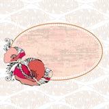 Εκλεκτής ποιότητας πλαίσιο με τις κόκκινες παπαρούνες Στοκ Εικόνες