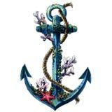 Εκλεκτής ποιότητας πλωτή άγκυρα με το κοχύλι, κοράλλι, απομονωμένο αντικείμενο watercolor απεικόνιση αποθεμάτων
