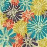 Εκλεκτής ποιότητας ρομαντικό άνευ ραφής σχέδιο με τα θερινά λουλούδια Στοκ φωτογραφία με δικαίωμα ελεύθερης χρήσης