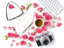 Εκλεκτής ποιότητας ρόδινες τριαντάφυλλα και σημείωση καμερών για το άσπρο υπόβαθρο Επίπεδος βάλτε Τοπ όψη Στοκ εικόνες με δικαίωμα ελεύθερης χρήσης