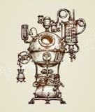 Εκλεκτής ποιότητας σκίτσο συσκευών απόσταξης Διανυσματική απεικόνιση Moonshining διανυσματική απεικόνιση