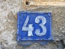 Εκλεκτής ποιότητας σκουριασμένο πιάτο μετάλλων grunge τετραγωνικό του αριθμού διεύθυνσης οδών με τον αριθμό Στοκ Εικόνα