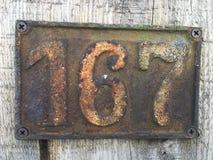 Εκλεκτής ποιότητας σκουριασμένο πιάτο μετάλλων grunge τετραγωνικό του αριθμού διεύθυνσης οδών με τον αριθμό Στοκ φωτογραφίες με δικαίωμα ελεύθερης χρήσης
