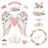 Εκλεκτής ποιότητας στεφάνι λουλουδιών φτερών γαμήλιου αγγέλου Στοκ φωτογραφία με δικαίωμα ελεύθερης χρήσης