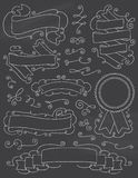 Εκλεκτής ποιότητας στοιχεία εννέα σχεδίου πινάκων κιμωλίας συρμένα χέρι Διανυσματική απεικόνιση