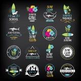 Εκλεκτής ποιότητας στοιχεία κυματωγών Αναδρομικός πίνακας λογότυπων Διάνυσμα με γραφικό ελεύθερη απεικόνιση δικαιώματος