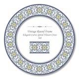 Εκλεκτής ποιότητας στρογγυλό αναδρομικό πλαίσιο 368 κομψός σταυρός λουλουδιών καμπυλών σπειροειδής Στοκ Εικόνες