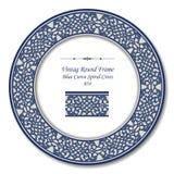 Εκλεκτής ποιότητας στρογγυλό αναδρομικό πλαίσιο 054 μπλε σπειροειδής σταυρός καμπυλών Στοκ εικόνα με δικαίωμα ελεύθερης χρήσης