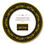 Εκλεκτής ποιότητας στρογγυλό αναδρομικό πλαίσιο 323 χρυσός σπειροειδής σταυρός καμπυλών Διανυσματική απεικόνιση