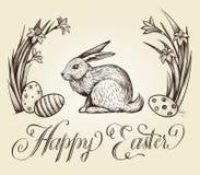 Εκλεκτής ποιότητας συρμένη χέρι απεικόνιση καρτών Πάσχας Ευτυχής εγγραφή Πάσχας με το λαγουδάκι, τα εορταστικά αυγά και τα λουλού Στοκ φωτογραφία με δικαίωμα ελεύθερης χρήσης