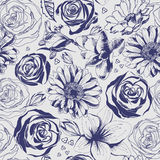 Εκλεκτής ποιότητας συρμένο χέρι σχέδιο λουλουδιών Στοκ Εικόνες