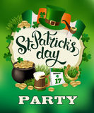 Εκλεκτής ποιότητας σχέδιο αφισών διακοπών κόμματος ημέρας του ST Patricks Στοκ Εικόνες