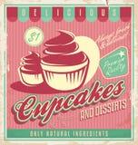 Εκλεκτής ποιότητας σχέδιο αφισών Cupcakes διανυσματική απεικόνιση