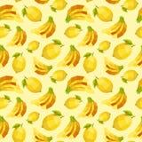 Εκλεκτής ποιότητας σχέδιο λεμονιών μπανανών πολυγώνων Στοκ Εικόνες