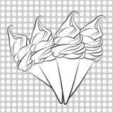 Εκλεκτής ποιότητας σχέδιο κώνων παγωτού βανίλιας Στοκ Εικόνες