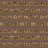 Εκλεκτής ποιότητας σχέδιο σπιτιών περιλήψεων καφετί Στοκ Εικόνες