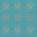 Εκλεκτής ποιότητας σχέδιο σπιτιών περιλήψεων μπλε απεικόνιση αποθεμάτων
