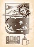 Εκλεκτής ποιότητας σχέδιο του ήλιου, του φεγγαριού και των αστεριών Καλός Στοκ Εικόνα
