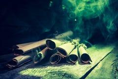 Εκλεκτής ποιότητας σύνολο εξοχικών σπιτιών witcher των κυλίνδρων και της συνταγής με το πράσινο φως για αποκριές Στοκ Εικόνες