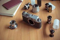 Εκλεκτής ποιότητας σύνολο καμερών στοκ φωτογραφίες