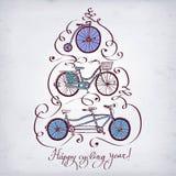 Εκλεκτής ποιότητας σύνολο ποδηλάτων Doodle Στοκ Εικόνες