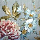 Εκλεκτής ποιότητας ταπετσαρία με το floral σχέδιο Στοκ Εικόνα