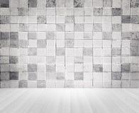 Εκλεκτής ποιότητας τοίχος συγκεκριμένων κεραμιδιών ύφους Grunge και ξύλινη σύσταση πατωμάτων Στοκ Εικόνες