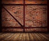 Εκλεκτής ποιότητας τουβλότοιχος και ξύλινο εσωτερικό πατωμάτων Στοκ Φωτογραφίες
