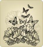 Εκλεκτής ποιότητας υπόβαθρο με τα λουλούδια και το πέταγμα butterf διανυσματική απεικόνιση