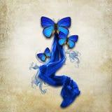 Εκλεκτής ποιότητας υπόβαθρο με τις πεταλούδες Στοκ Εικόνα