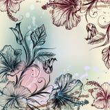 Εκλεκτής ποιότητας υπόβαθρο με hibiscus το χαραγμένο λουλούδια ύφος Στοκ φωτογραφία με δικαίωμα ελεύθερης χρήσης