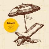 Εκλεκτής ποιότητας υπόβαθρο ταξιδιού με την πολυθρόνα παραλιών και Στοκ Εικόνες