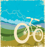 Εκλεκτής ποιότητας υπόβαθρο φύσης με το ποδήλατο σε παλαιό χαρτί τ Στοκ Φωτογραφία