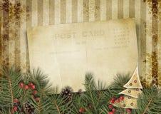 Εκλεκτής ποιότητας υπόβαθρο Χριστουγέννων με την παλαιά κάρτα και firtree διανυσματική απεικόνιση