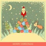 Εκλεκτής ποιότητας υπόβαθρο Χριστουγέννων με Santa στο παλαιό αυτοκίνητο απεικόνιση αποθεμάτων