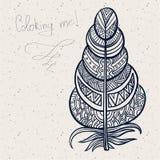 Εκλεκτής ποιότητας φυλετικά φτερά doodle zentangle Στοκ φωτογραφία με δικαίωμα ελεύθερης χρήσης