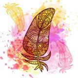 Εκλεκτής ποιότητας φυλετικά φτερά doodle zentangle Στοκ εικόνες με δικαίωμα ελεύθερης χρήσης