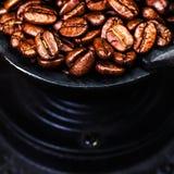 Εκλεκτής ποιότητας χειρωνακτικός μύλος καφέ με τα φασόλια καφέ ξύλινο σε καφετή Στοκ Φωτογραφίες