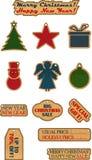 Εκλεκτής ποιότητας Χριστούγεννα και νέες ετικέτες πώλησης έτους με τη σύσταση χαρτονιού Στοκ Εικόνες