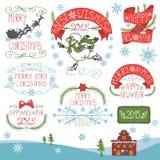 Εκλεκτής ποιότητας Χριστούγεννα, νέα καλλιγραφικά διακριτικά έτους καθορισμένα Στοκ Εικόνες