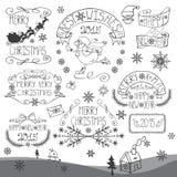 Εκλεκτής ποιότητας Χριστούγεννα, νέα καλλιγραφικά διακριτικά έτους καθορισμένα Στοκ Εικόνα