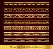 Εκλεκτής ποιότητας χρυσή διανυσματική συλλογή 19 πλαισίων συνόρων Στοκ φωτογραφία με δικαίωμα ελεύθερης χρήσης
