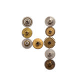 Εκλεκτής ποιότητας cogwheels εργαλείων steampunk μηχανικό ψηφίο αριθμός τέσσερα ύφους Σκουριασμένη μορφή 4 σύστασης μετάλλων χαλκ Στοκ φωτογραφία με δικαίωμα ελεύθερης χρήσης