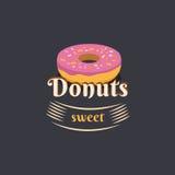 Εκλεκτής ποιότητας doughnut λογότυπων Στοκ εικόνα με δικαίωμα ελεύθερης χρήσης