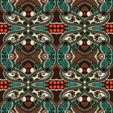 Εκλεκτής ποιότητας floral άνευ ραφής σχέδιο γεωμετρίας Στοκ Εικόνα