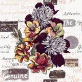 Εκλεκτής ποιότητας floral απεικόνιση ύφους με τα λουλούδια Στοκ Φωτογραφία